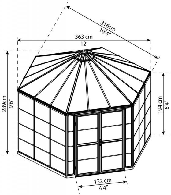 12ft Palram Oasis Hexagonal Greenhouse in Grey - dimensions