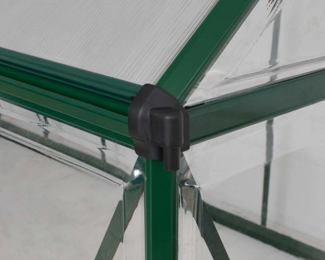 Palram Hybrid Greenhouse in Green - integral guttering