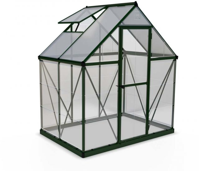 6 x 4 Palram Hybrid Greenhouse in Green - isolated view