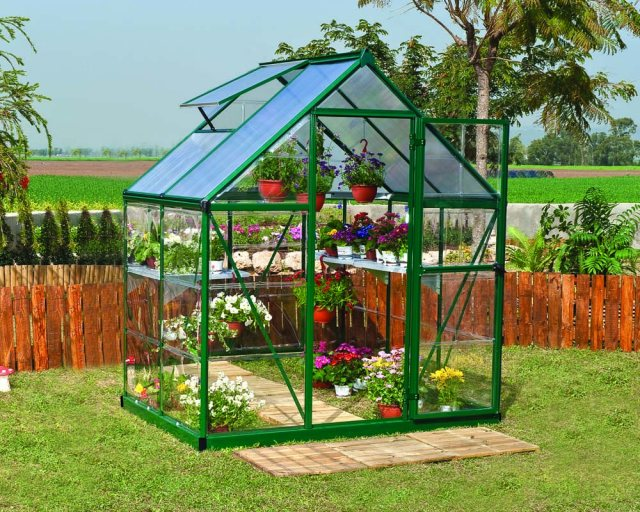 6 x 4 Palram Hybrid Greenhouse in Green - in situ
