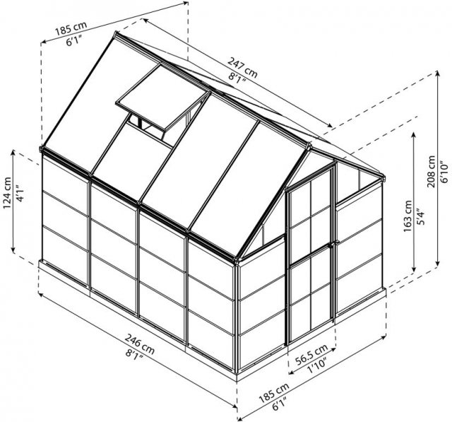 6 x 8 Palram Hybrid Greenhouse in Silver - dimensions