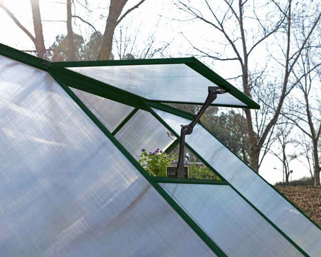 Palram Hybrid Greenhouse in Green - single manual opening roof vent