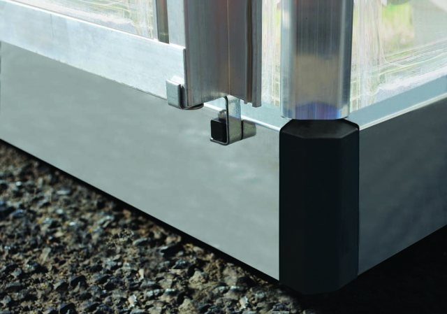 Palram Hybrid Greenhouse in Silver - galvanised steel base aids stability