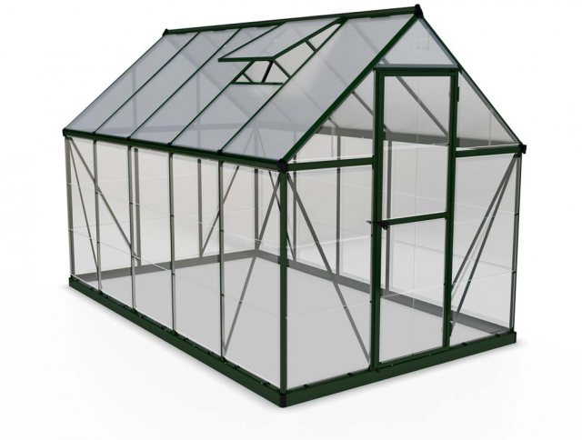6 x 10 Palram Hybrid Greenhouse in Green- isolated view