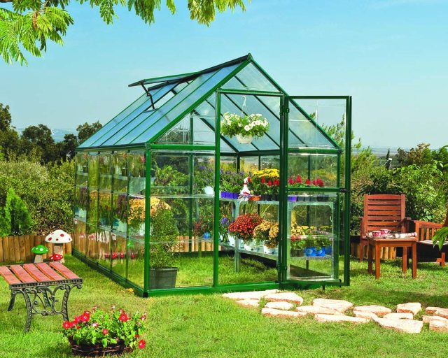 6 x 10 Palram Hybrid Greenhouse in Green - in situ