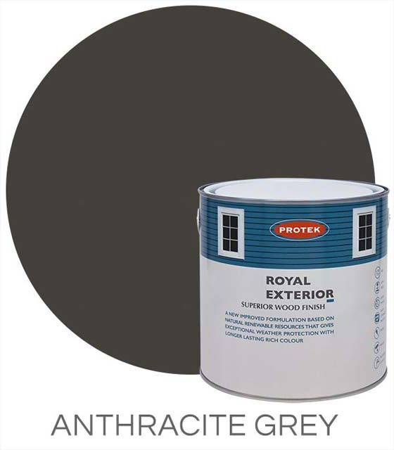 Protek Royal Exterior Paint 2.5 Litres - Anthracite Grey Swatch with Pot