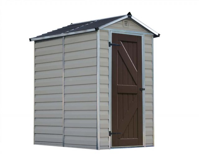 4 x 6 Palram Skylight Plastic Apex Shed - Tan -  white background with door closed