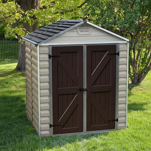 6x5 Palram Skylight Plastic Apex Shed  - Tan - background with doors closed