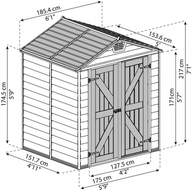 6x5 Palram Skylight Plastic Apex Shed - Tan - schematic drawing