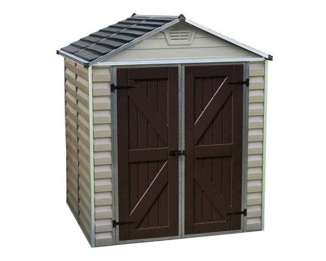 6x5 Palram Skylight Plastic Apex Shed - Tan - white background and door closed