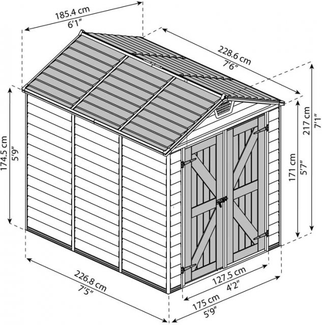 6x8 Palram Skylight Plastic Apex Shed - Tan- schematic drawing