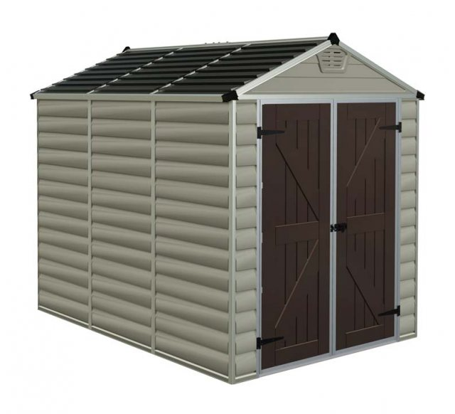 6x8 Palram Skylight Plastic Apex Shed - Tan - white background and doors closed