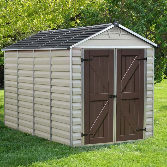 6x10 Palram Skylight Plastic Apex Shed - Tan - with background