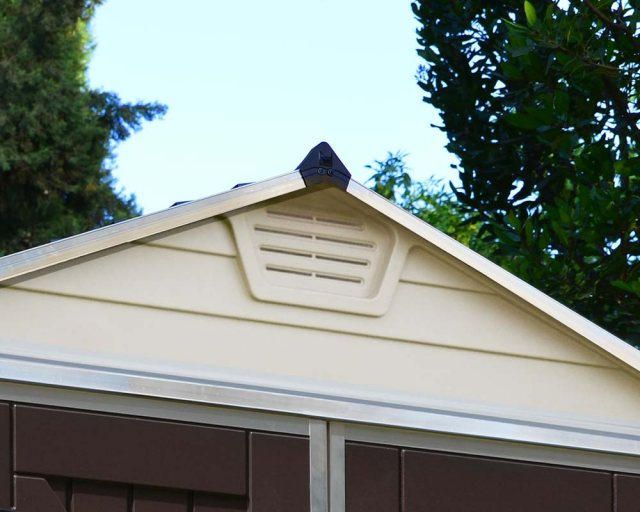 6x10 Palram Skylight Plastic Apex Shed - Tan - gable ventilation