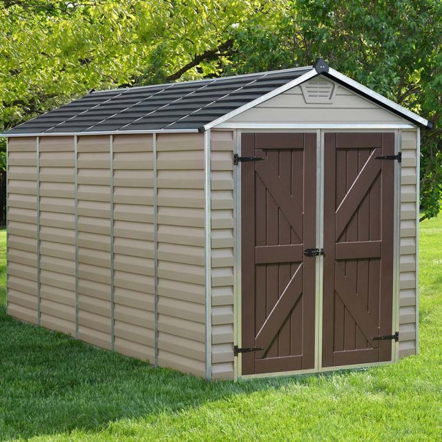 6x12 Palram Skylight Plastic Apex Shed - Tan - with background
