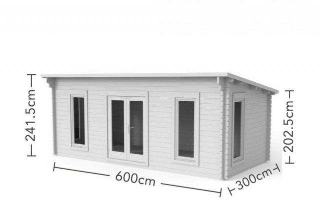 10 x 20 Forest Arley Pent Log Cabin - dimensions