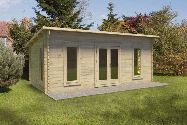 10 x 20 Forest Arley Pent Log Cabin - full view