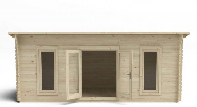 10 x 20 Forest Arley Pent Log Cabin - fron view doors open