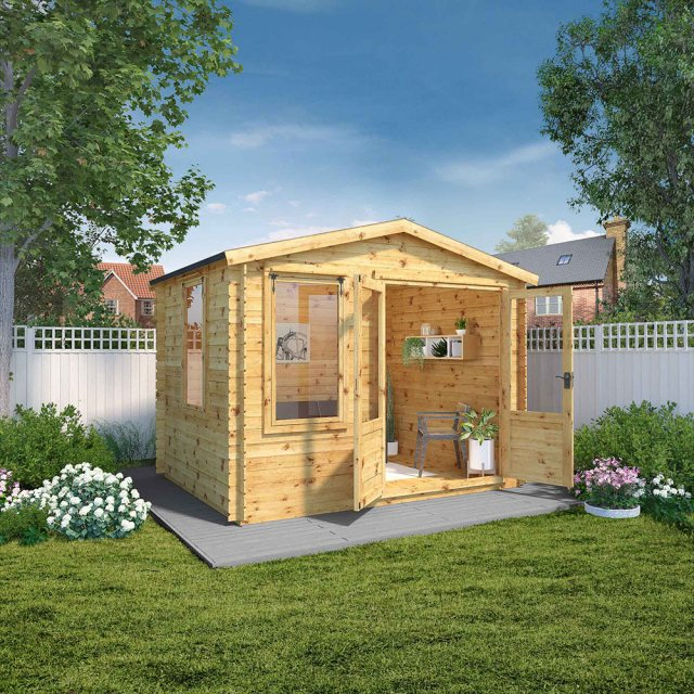 2.6m x 3.3m Mercia Log Cabin 19mm Logs - doors open