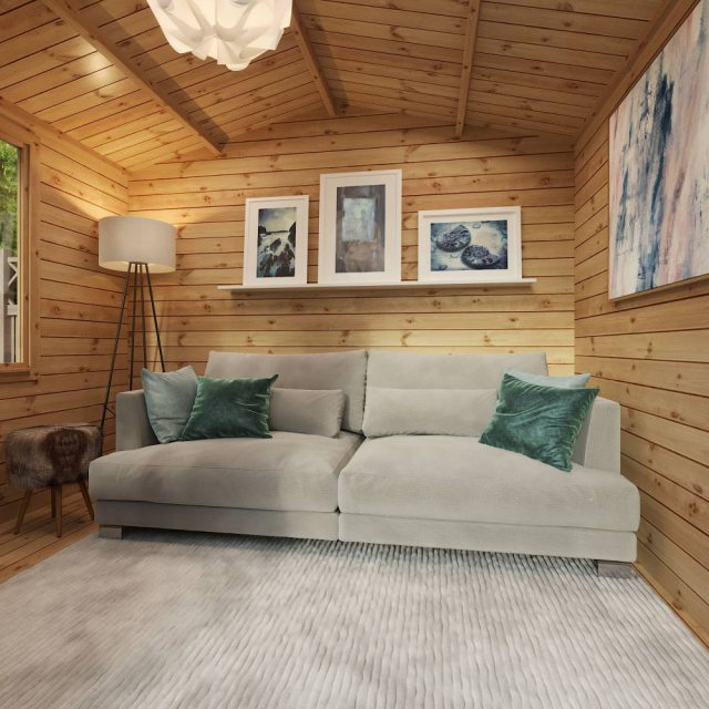 2.6m x 3.3m Mercia Log Cabin 19mm Logs - living room set up
