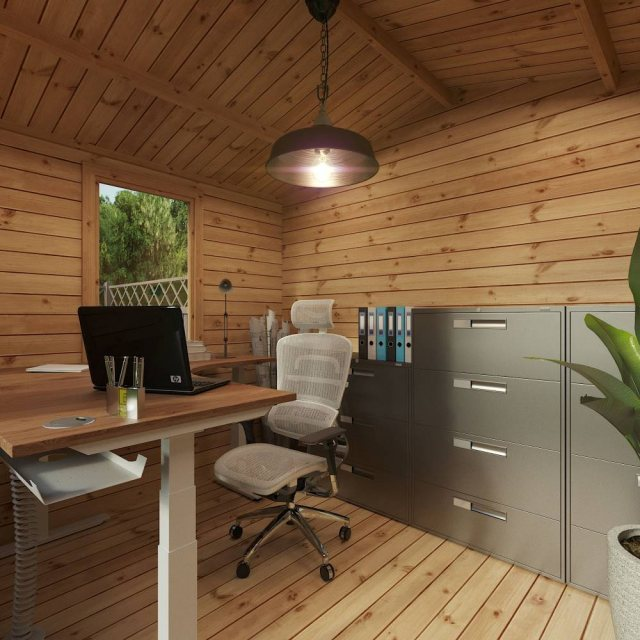 2.6m x 3.3m Mercia Log Cabin 19mm Logs - home office