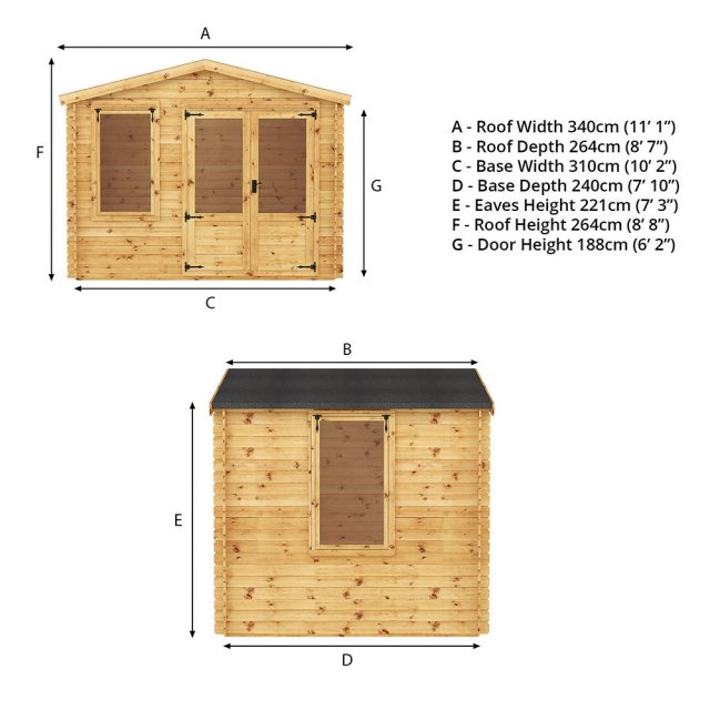 2.6m x 3.3m Mercia Log Cabin 19mm Logs - games room