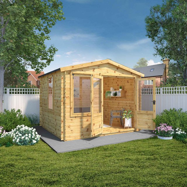 3.3m x 3m Mercia Log Cabin 19mm Logs - doors open