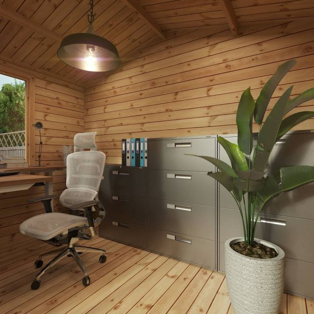 3.3m x 3m Mercia Log Cabin 19mm Logs - home office