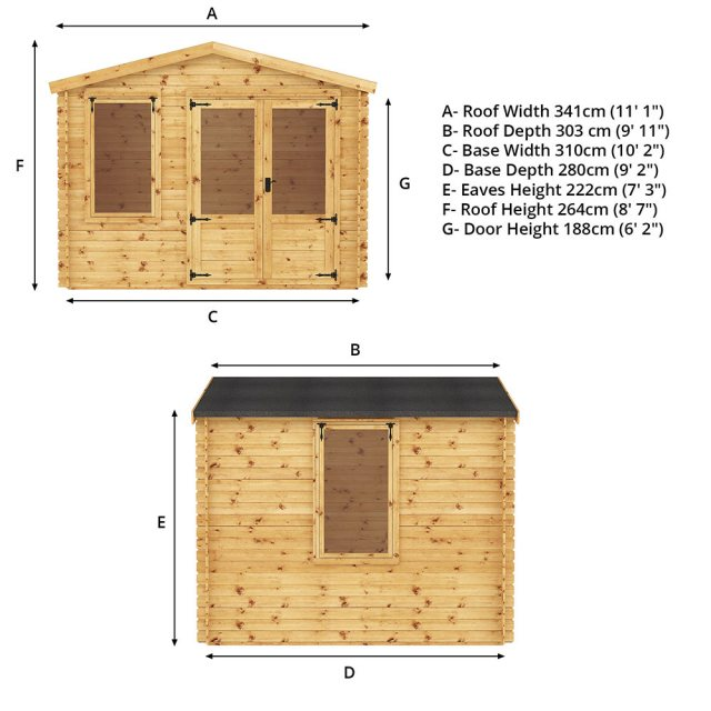 3.3m x 3m Mercia Log Cabin 19mm Logs - home gym