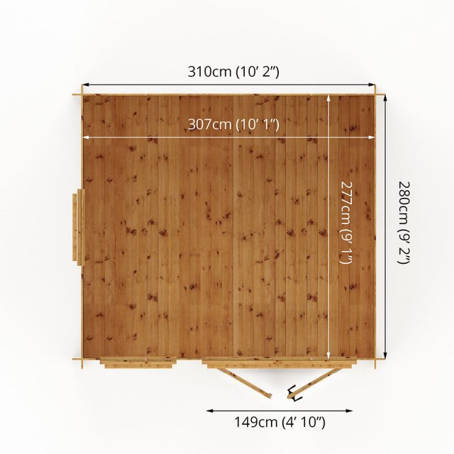 3.3m x 3m Mercia Log Cabin 19mm Logs - interior space