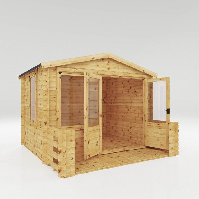 3.3m x 3.4m Mercia Log Cabin with Veranda 19mm Logs - dimensions
