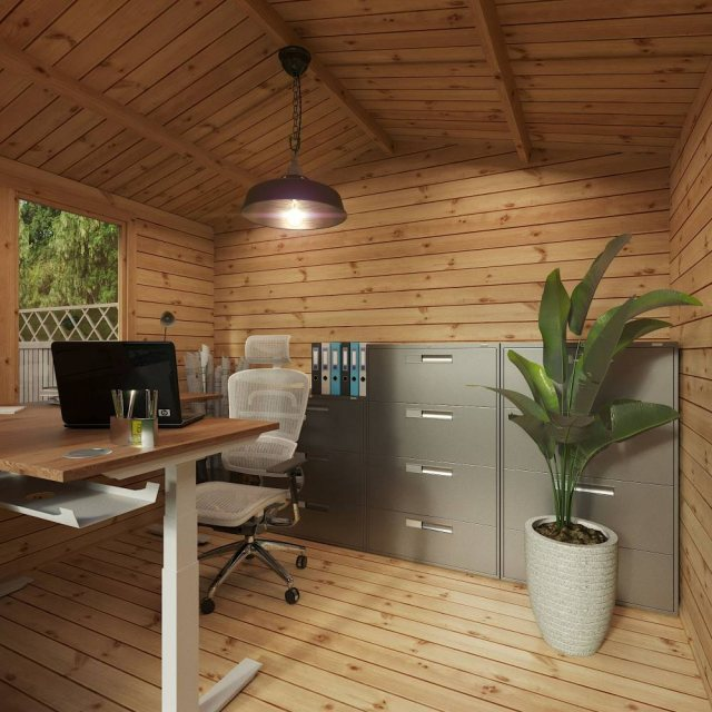 3.3m x 3.4m Mercia Log Cabin with Veranda 19mm Logs - home office