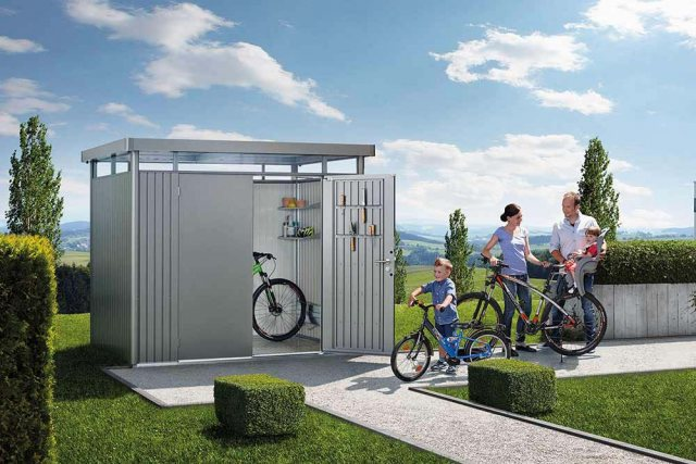 9 x 6 Biohort HighLine H2 Metal Shed - Single Door - In situ