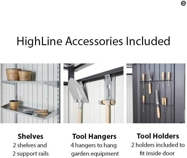 9 x 6 Biohort HighLine H2 Metal Shed - Single Door - Accessories