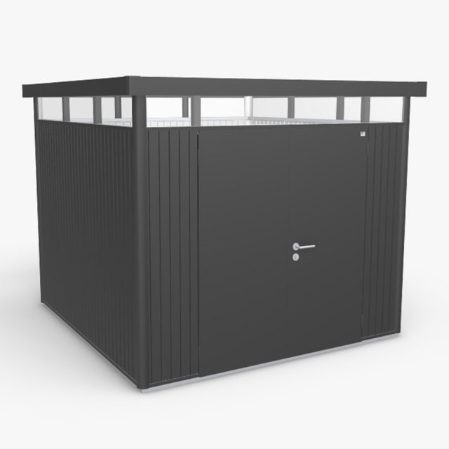 9 x 9 Biohort HighLine H4 Metal Shed - Double Door - Metallic Dark Grey