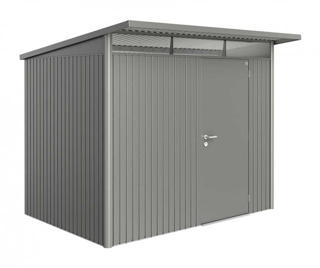 8 x 7 Biohort AvantGarde A5 Metal Shed - Single Door - Metallic Quartz Grey