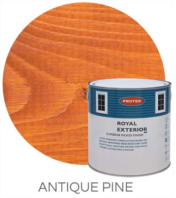Protek Royal Exterior Paint 1 Litre - Antique Pine Swatch with Pot