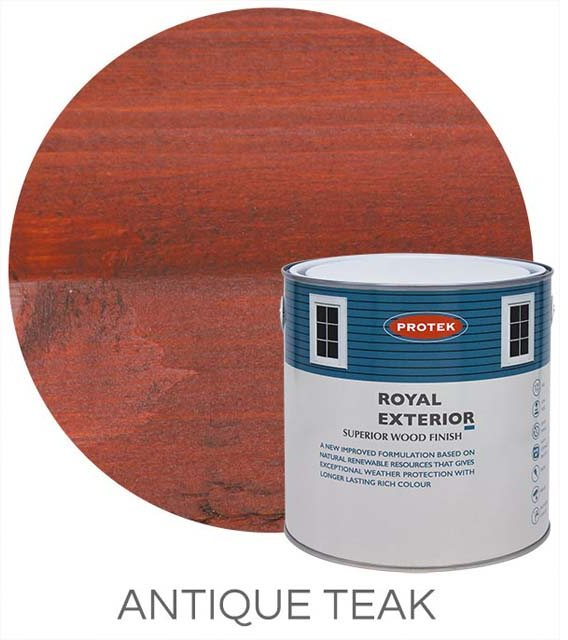 Protek Royal Exterior Paint 1 Litre - Antique Teak Colour Swatch with Pot