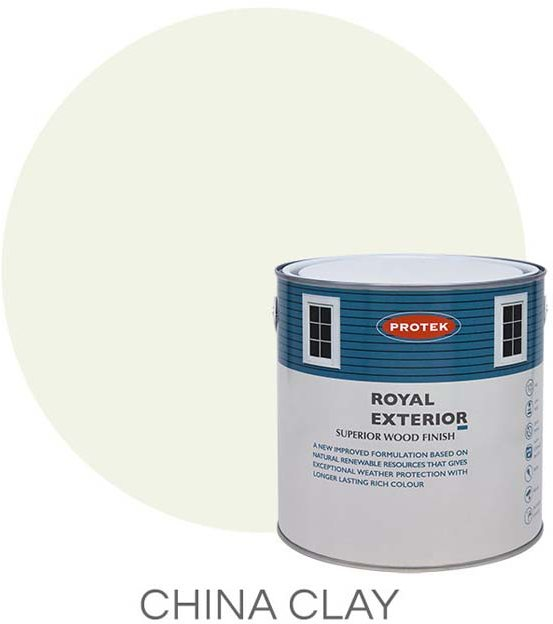 Protek Royal Exterior Paint 1 Litre - China Clay Colour Swatch with Pot
