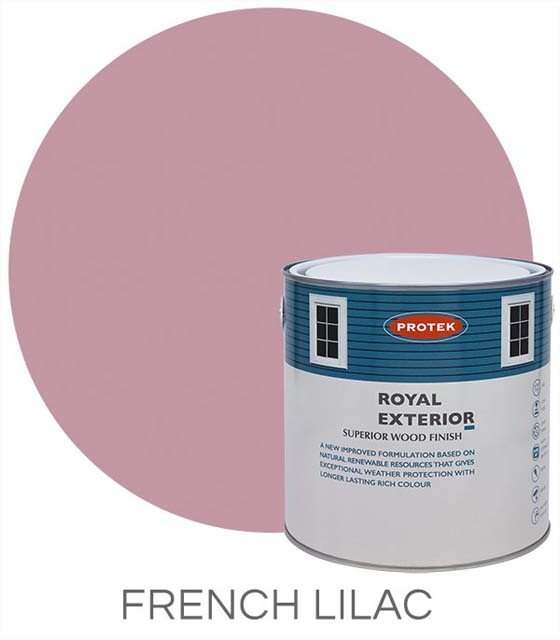 Protek Royal Exterior Paint 1 Litre - French Lilac Colour Swatch with Pot