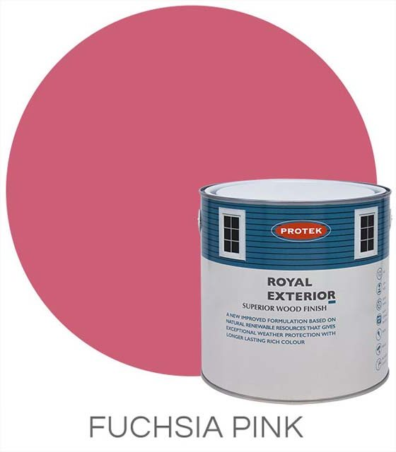 Protek Royal Exterior Paint 1 Litre - Fuchsia Pink Colour Swatch with Pot