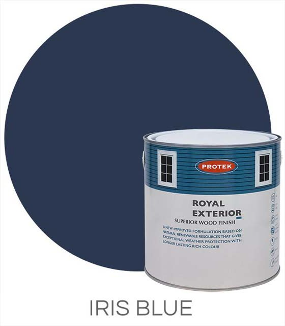 Protek Royal Exterior Paint 1 Litre - Iris Blue Colour Swatch with Pot