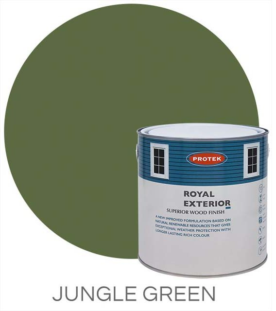 Protek Royal Exterior Paint 1 Litre - Jungle Green Colour Swatch with Pot