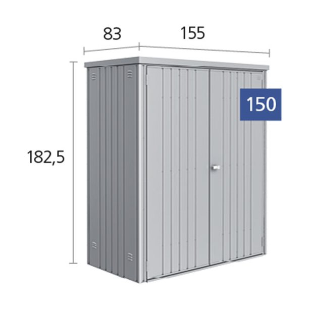 5 x 3 (1.55m x 0.83m) Biohort Equipment Locker 150 - Dimensions