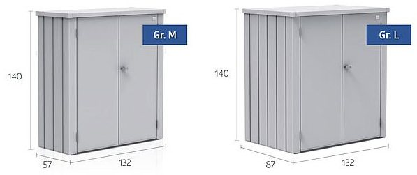 Biohort Patio Romeo Locker - Medium - Dimensions
