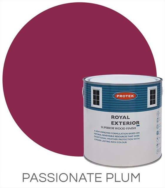 Protek Royal Exterior Paint 1 Litre - Passionate Plum Colour Swatch with Pot