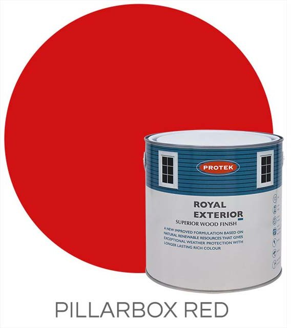 Protek Royal Exterior Paint 1 Litre - Pillarbox Red Colour Swatch with Pot