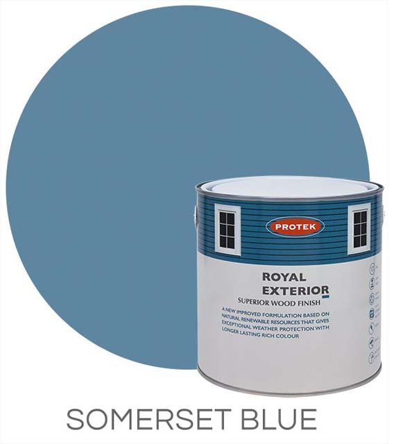 Protek Royal Exterior Paint 1 Litre - Somerset Blue Colour Swatch with Pot