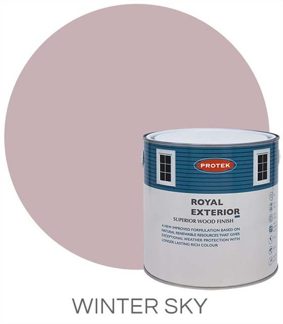 Protek Royal Exterior Paint 1 Litre - Winter Sky Colour Swatch with Pot