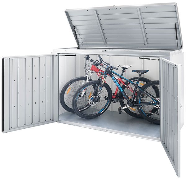 7 x 3 Biohort HighBoard 200 - Metallic Silver with all doors open with bikes